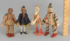 4 Antique German Carved Wood Schoenhut Circus Clowns & Chinaman Acrobats Nr