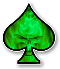 ACE OF SPADES With LGBT Green Flaming Skull Vinyl Car Helmet Sticker Decal Vdub