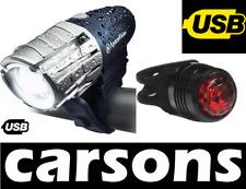 LED Anteriore e Posteriore Tail USB ricaricabile BICICLETTA Luci Set Kit luce CICLISMO carsons