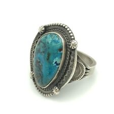Native American Navajo Sterling Silver And Turquoise, Signed Ring