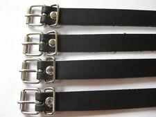 4 Lederriemen schwarz 23cm lang Rollschnalle und Schlaufe vernickelt