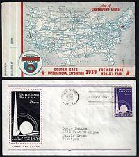 Us 1939 Golden Gate International Exposition Greyhound Bus Lines & Us Map Distri