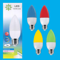 3W LED Coloured ES E27 Candle Light Bulb Lamp, Red Yellow Green Blue, 85-265V