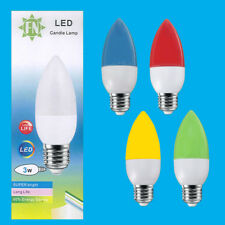 4x 3W LED Coloured ES E27 Candle Light Bulb Lamp, Red Yellow Green Blue, 85-265V