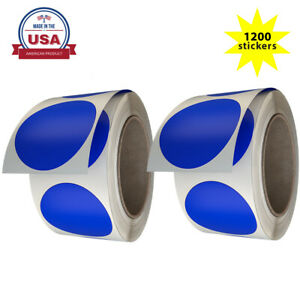 Royal Green 2 Inch Large Round Dot Stickers Blue 50mm (5cm) 1200 Pack on Rolls