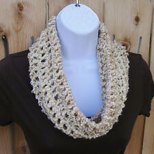 SUMMER COWL SCARF Beige, Cream, Off White, Small Short Crochet Knit Neck Warmer