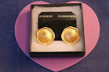 Beautiful Gold Color Earrings Modern Design And Diamontino  3 Cm.Wide In Box