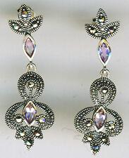 """925 Sterling Silver Amethyst & Marcasite Drop / Dangle Earrings   38mm L 1.1/2"""""""
