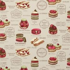 Clarke and Clarke Patisserie Linen Cake Design Curtain Upholstery Craft Fabric