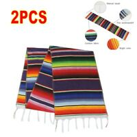 USA 2PCS Mexican Serape Table Runner for Wedding Decor Fringe Cotton Tablecloth