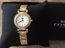 COACH MADISON GOLD STAINLESS STEEL SIGNATURE BRACELET WATCH 14502403 NEW
