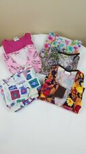 Scrubs Womens Scrub Tops Lot of 6 Size Medium Cotton Short Sleeve Multi-Color