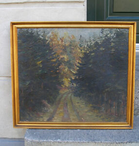 John Walentin (1882)  Forest road. Dated 1935. Fine Danish modernism.