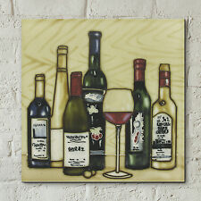 "Wine Bottle Glass Ceramic Picture Tile Vineyards Kitchen Wall Plaque 8x8"" 05477"
