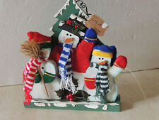 ~LET IT SNOW ~Snowmen Knit Scarves Mittens & Felt Hats Wood Christmas NICE DECOR