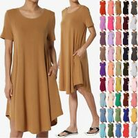 TheMogan S~3XL Basic Jersey Knit Short Sleeve Trapeze Pocket Loose T-Shirt Dress