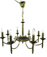 Large French Empire  Chandelier Green Tole Brass 8 arms Hollywood Regency