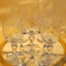 Série de cinq verres à vin blanc Porto en verre soufllé Thouvenin Vierzon étoile