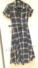 Collectif Checked Full Swing shirt dress Size XS 8 Rockerbilly Pinup 1940's