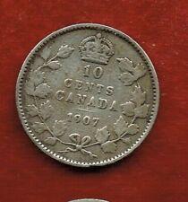 CANADA TEN CENTS 1907   EDWARDVII  ..SILVER 92.5.%  MINTAGE 2,620,000