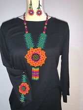 Mexican Huichol Handmade necklace, bracelet and earrings set
