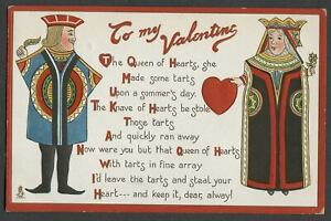 c.1910 Tuck FIRST LOVE Series No. 16 Valentine Postcard KNAVE QUEEN OF HEARTS