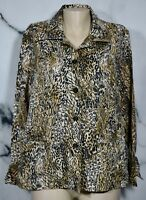 BIRCH HILL Black Tan Brown Animal Print Shirt Blouse XL Long Sleeves Unlined
