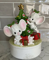Vintage NAPCOWARE Musical Figurine Christmas Tree Mice Music Box Ceramics Japan