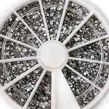 1.5mm Nail Art Rhinestones Glitter Diamond Gems 3D Tips Decoration Wheel 2400PCS