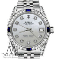 Rolex 36mm Datejust White MOP Mother Of Pearl Dial Sapphire & Diamond