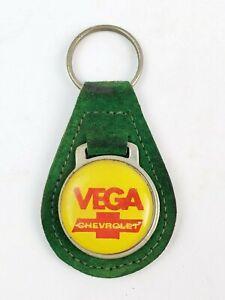 Vintage Chevrolet Vega leather keychain keyring metal back Green