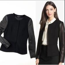 Theory Leather Sleeve Peplum Wool Black Jacket Size 2