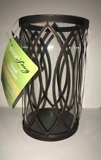 "Smart Living 8.5"" H Led Candle Lantern- Antique Black Metal & Glass"