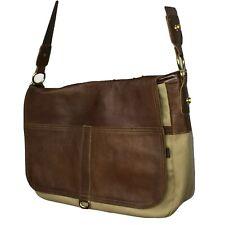 Shoulder Messenger Bag Khaki Canvas Brown Leather Laptop School Work Satchel