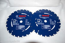 Bosch DCB724  7-1/4in 24 Tooth Circular Saw Blade Framing Ripping LOT OF 2