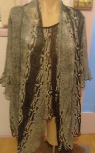 Quelque Ladies Top & Jacket Combo Size 12 Zebra Black & White Sheer Print