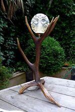 DEER STAG ANTLER TABLE LAMP VINTAGE GLASS SHADE HANDMADE HOME LOFT FARM ART