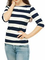 Allegra K Women Half Sleeves Boat Neck Classic Striped Tee Blue S