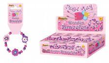 Children's Pretty Purple Girls Wooden Bead Bracelets Party Bag Flower x 2