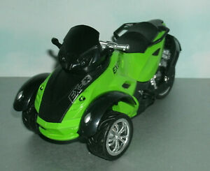 1/18 Scale Can Am Spyder Plastic & Diecast Toy 3-Wheel Front Trike Motorcycle