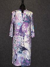 FERAUD Paris Colorful Paisley Print 3/4 Sleeves Tunic Shift Dress SZ 6