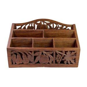 Vintage Carved & Pierced Indian Wooden Letter Rack Menu Leaflet Holder Desk Tidy
