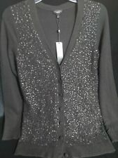 Talbots Black Wool/Angora Button Up Sequence Sweater With Tag Spare.