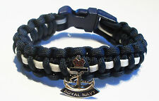 ROYAL NAVY ANCHOR PARACORD WRISTBAND WITH BADGES