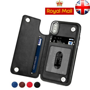 For iPhone 11 Pro Max X XR XS Magnetic Leather Wallet Case Card Holeder Cover 08