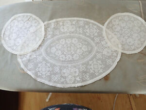 3 Vintage Fine Lace Doilies, Dressing Table Set,