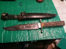 Large Bowie Knife Stag German Solingen Vintage E.K.KNECHT ETCHING NICE