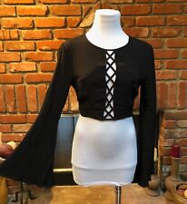Vtg Black Steampunk Criss Cross Cropped Long Flared Bell Sleeve Shirt Top Xs/S