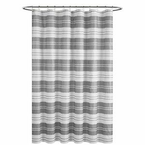 """Gray and White Striped Embossed Polyester Shower Curtain 72"""""""