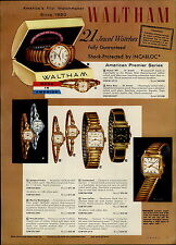 1957 PAPER AD 4 PG Waltham Wrist Watch American Premier 25 Jewel Self Winding